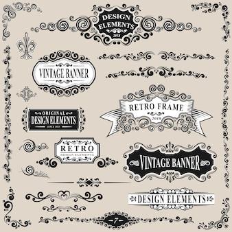 Retro label and vintage elements set vector illustration