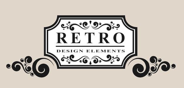 Retro label with vintage elements vector illustration