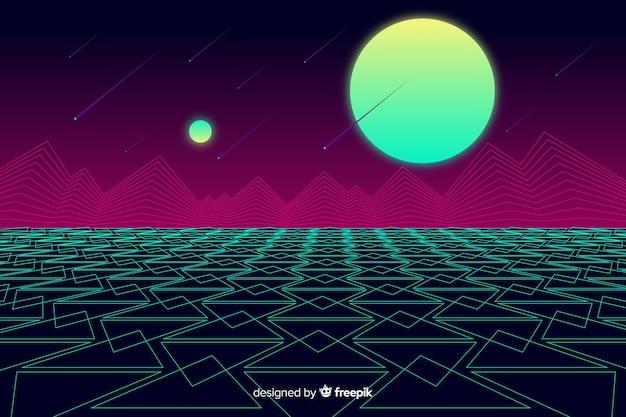 Retro landscape background futuristic style
