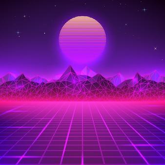 紫色のレトロな風景。未来の惑星ネオン山と夕日の背景。サイエンスフィクションの抽象的な幾何学的な風景。