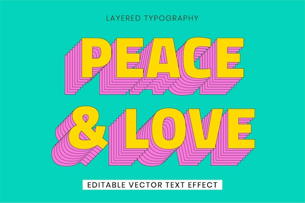 Retro layered word editable vector text effect template