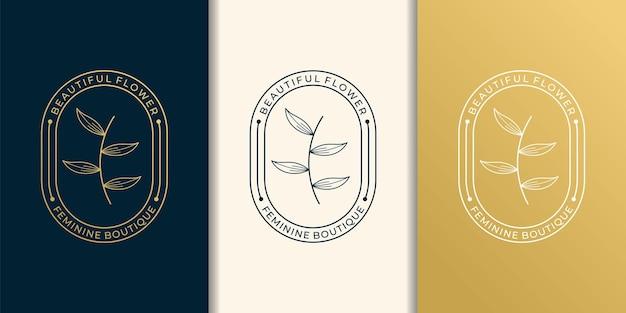レトロな葉の美しさのロゴデザインセットコレクション。