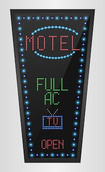 Retro led panel billboard with motel sign