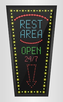 Retro led panel rest area sign