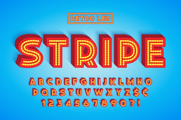 Retro led stripe font design, letters and numbers.
