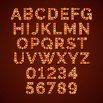 Retro light bulb bright alphabet, vector font
