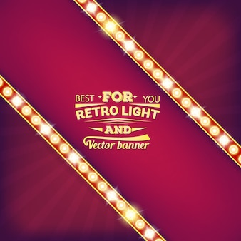 Retro light bulb  speech bubble banner.