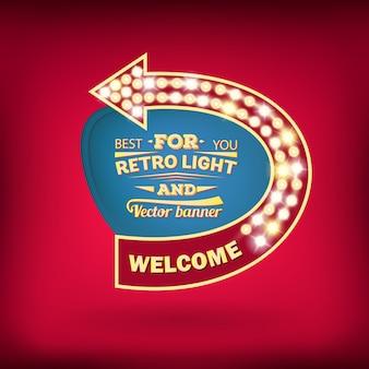 Retro light bulb vector speech bubble banner.