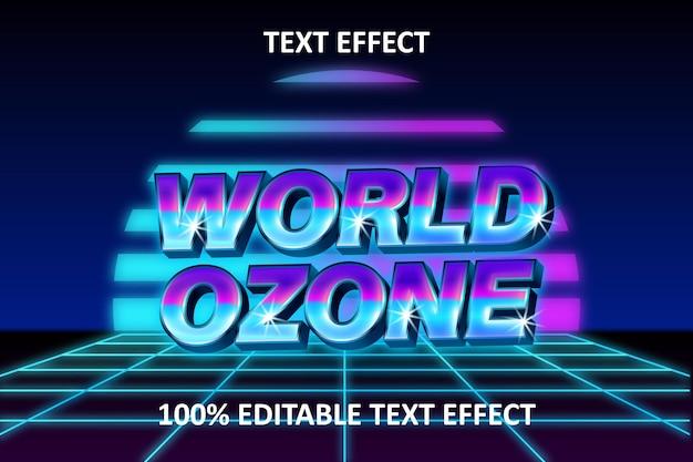 레트로 라이트 편집 가능한 텍스트 효과 세계 오존