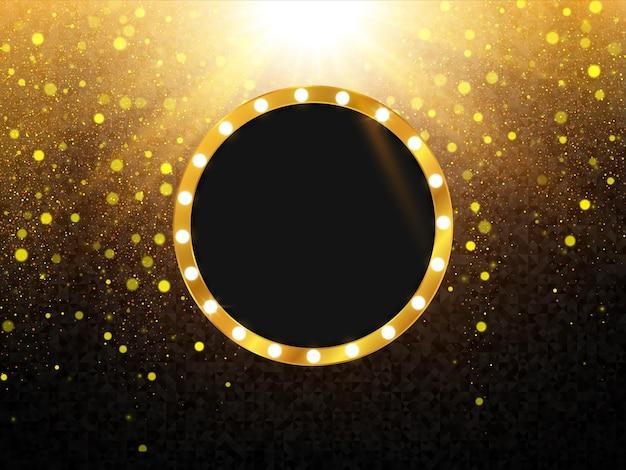 Ретро легкая рамка фон с золотой блеск текстуры