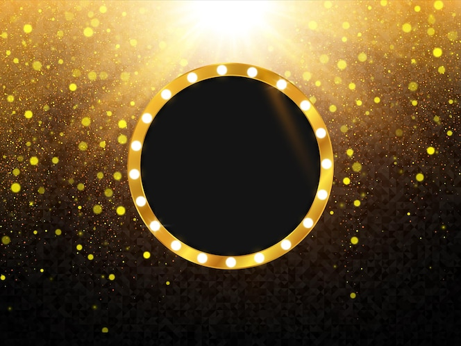 Retro light frame background with gold glitter texture