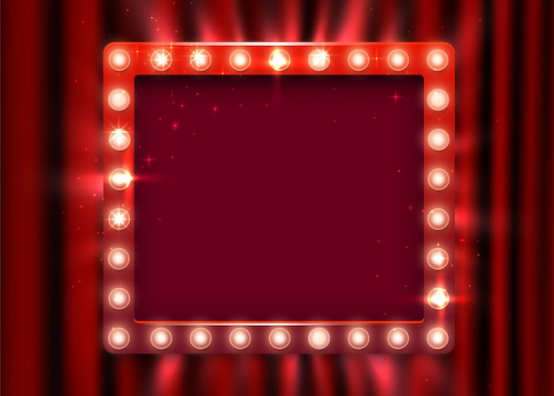 Retro light sign. vintage style banner on curtain background. show time