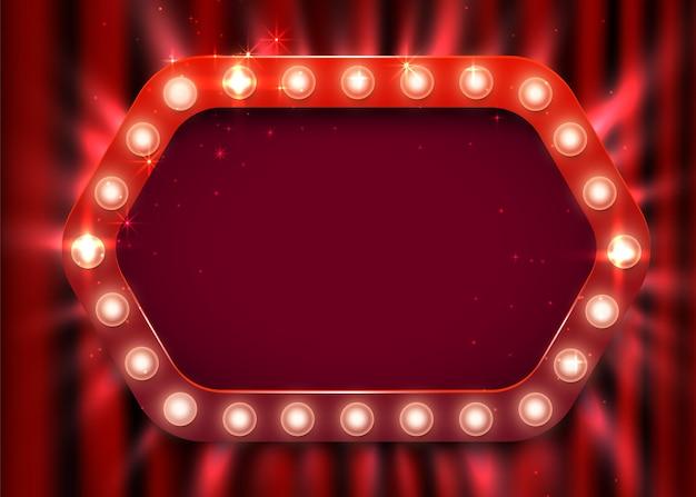 レトロな光の看板。カーテンの背景にビンテージ スタイルのバナー。ショータイム