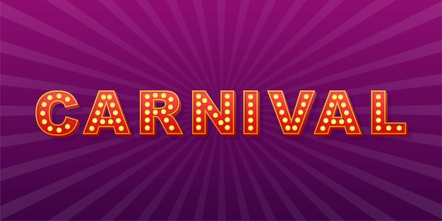Retro light text carnival. retro light bulb.  stock illustration.