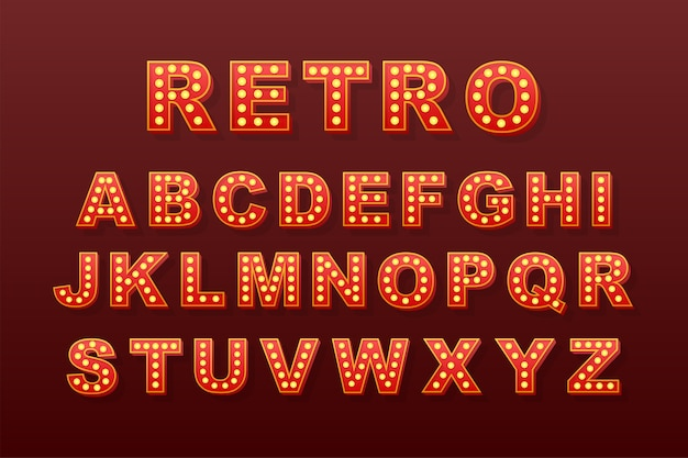 Retro light text, great  for any purposes.  retro light bulb alphabet.  stock illustration.