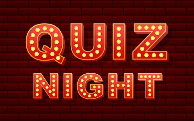 Retro light text quiz night illustration