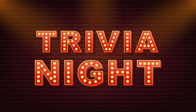 Retro light text trivia night. retro light bulb. vector stock illustration.