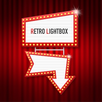 Retro lightbox billboard vintage frame. lightbox with customizable . classic banner for your projects or advertising.