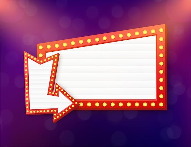レトロなライトボックス看板ヴィンテージフレーム。カスタマイズ可能なデザインのライトボックス。あなたのプロジェクトや広告のための古典的なバナー。