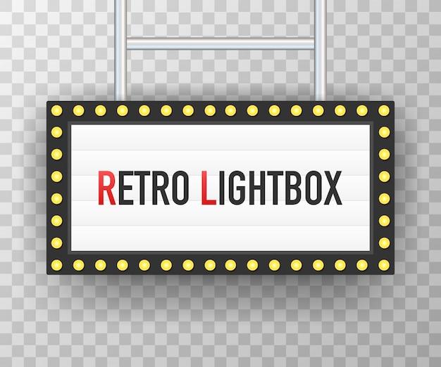 Retro lightbox billboard vintage frame. lightbox with customizable design.