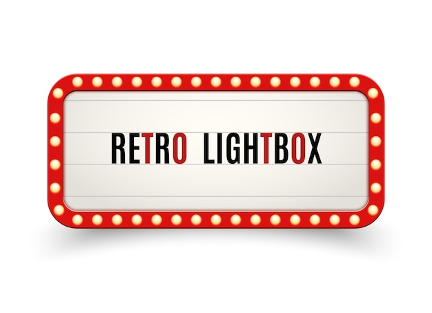 Ретро лайтбокс рекламный щит винтажная рамка. винтажный баннер световой короб. рекламируют оформление вывески кинотеатра или шоу.