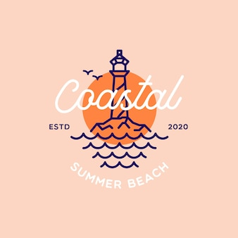 Retro lighthouse summer beach logo