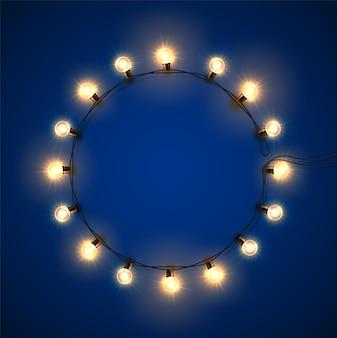 Retro lights, realistic glowing garland with light bulbs.