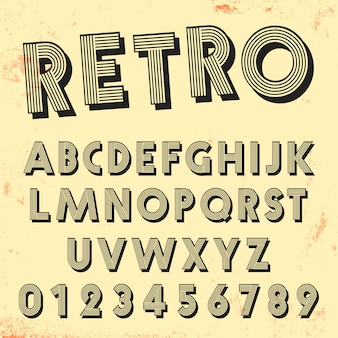 Retro line font template. set of vintage letters and numbers lines design.