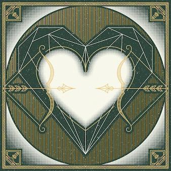 レトロなライン、正方形のヴィンテージのグラフィカルな愛のテーマ。