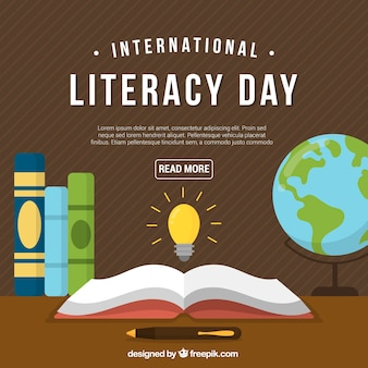 Retro literacy day background with books