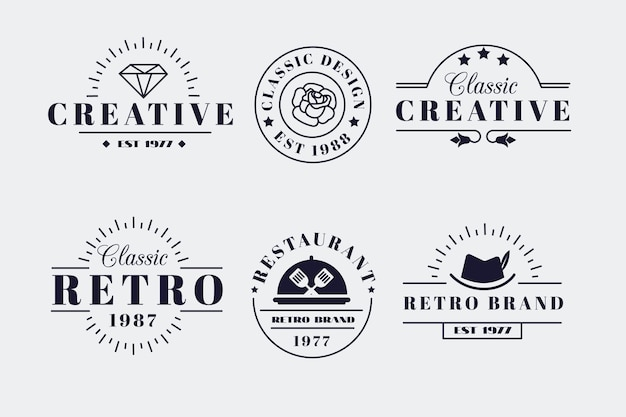さまざまなブランドのレトロなロゴコレクション