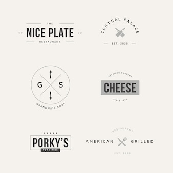 Коллекция ретро логотипа для разных ресторанов