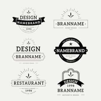 Retro logo collection template