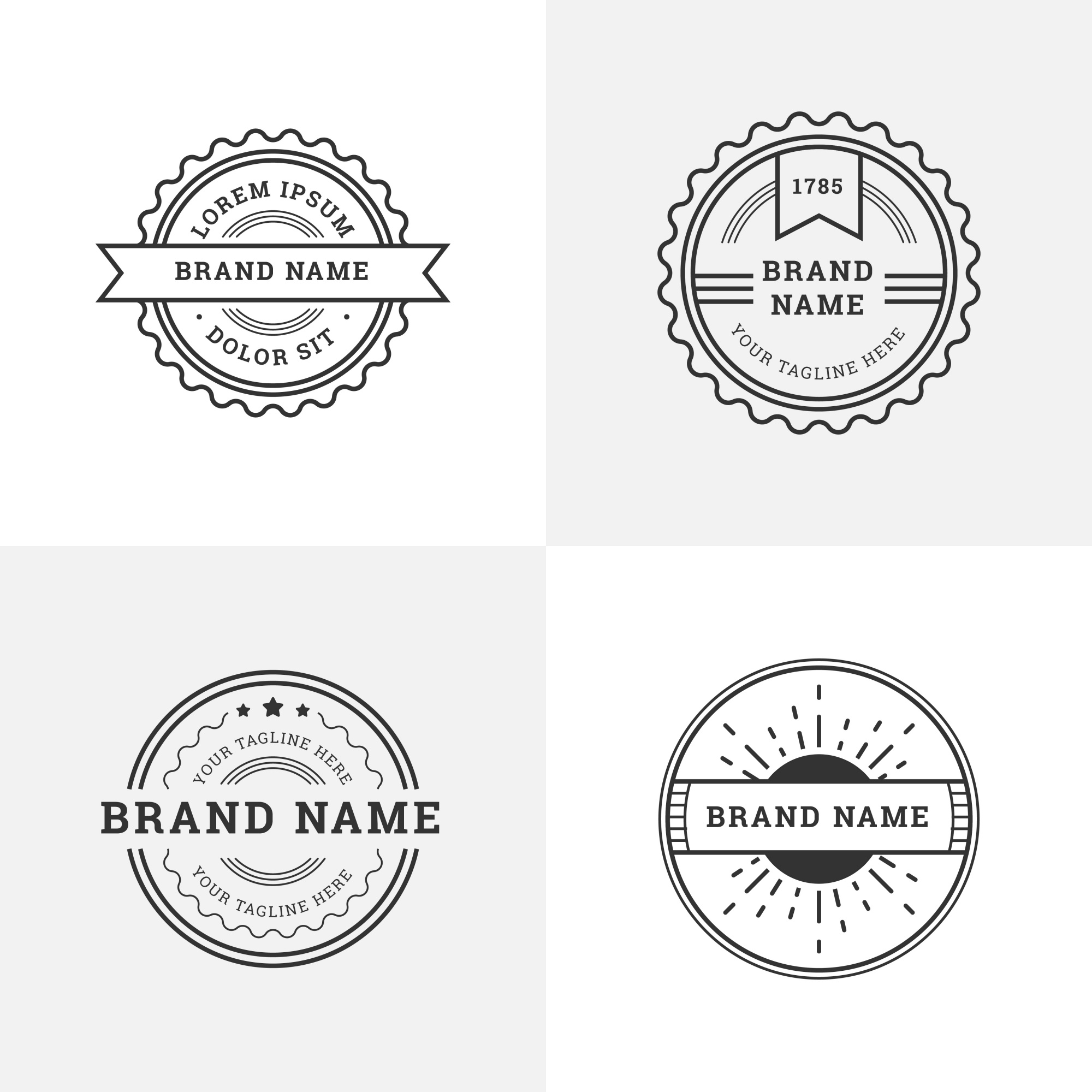 Retro logos with round shapes