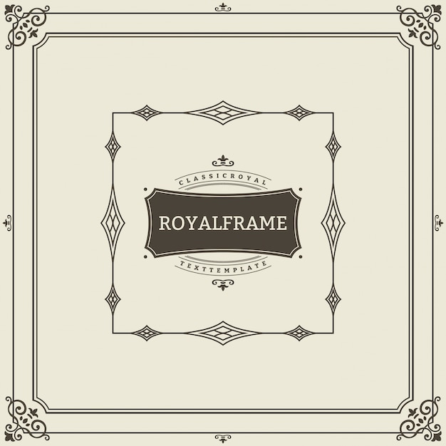 Retro luxury invitation, royal certificate. flourishes frame. vintage ornament, ornamental frame