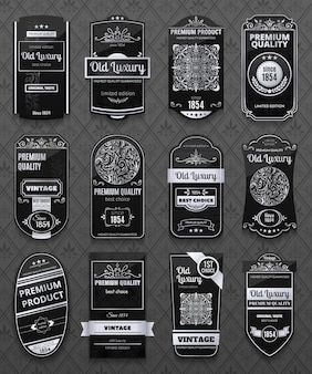Retro luxury labels set in black and white color isolated on gray