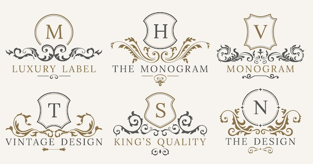 Retro luxury royal vintage shields logotype set