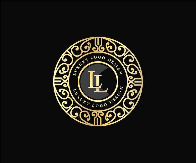 Ретро роскошный викторианский каллиграфический герб геральдический шаблон логотипа с декоративной декоративной рамкой