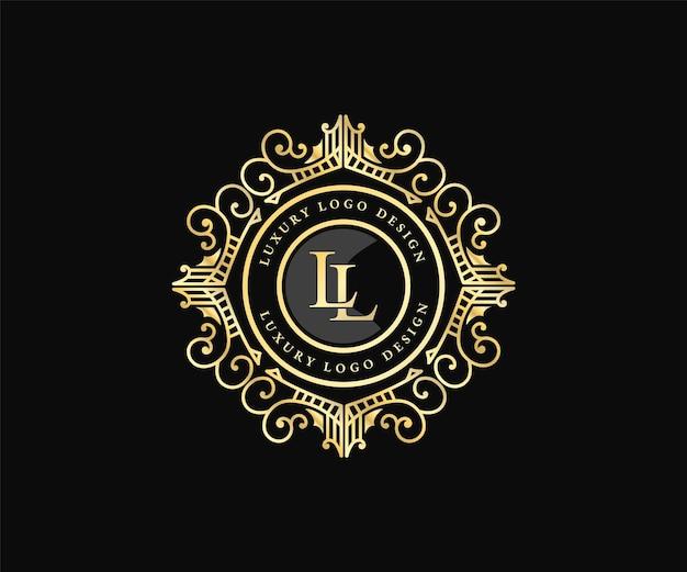 장식용 장식 프레임이 있는 레트로 럭셔리 빅토리아 서예 엠블럼 전령 로고 템플릿