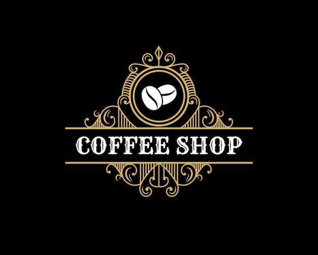 Retro luxury vintage coffee shop logo emblem with decorative ornamental frame for coffee house cafe