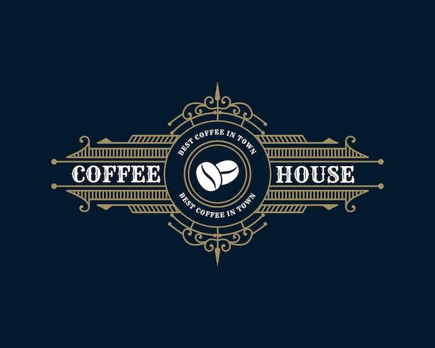 Ретро роскошная винтажная эмблема с логотипом кофейни с декоративной декоративной рамкой для кафе-кофейни