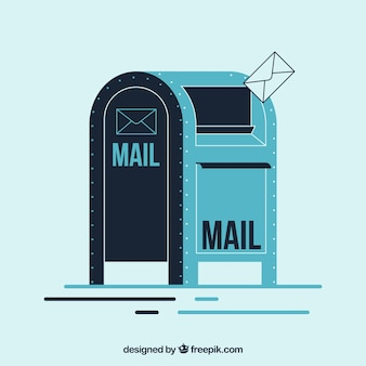 Retro mailbox background in flat design