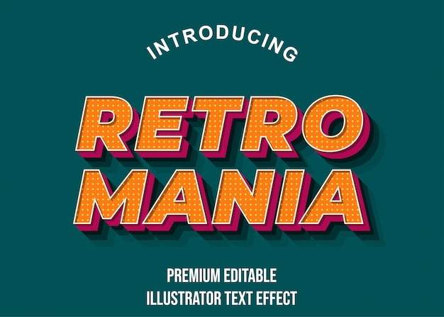 Retro mania orange pink display text effect