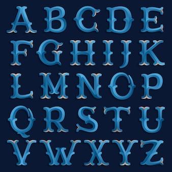 Ретро морской шрифт. винтажная декоративная верстка
