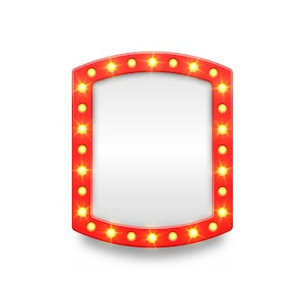 Retro marquee empty frame and arrow movie casino and theater vanity icons for lamp mirror cinema artist makeup room