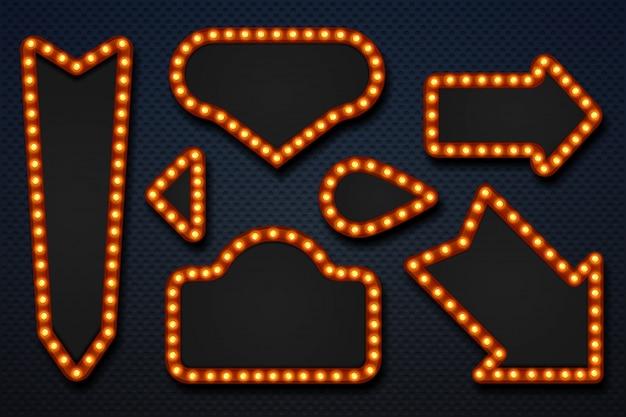 Retro marquee frames. light bulb arrows vintage makeup mirror movie circus casino signboard. 3d realistic frame