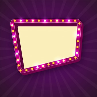 Retro marquee frames with light bulbs with space for your text.