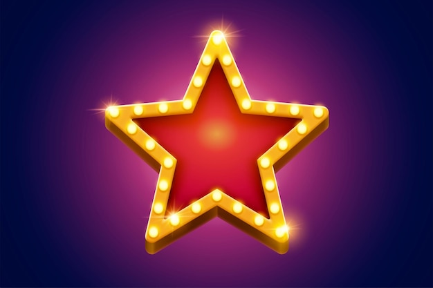 Retro marquee light red star decoration with yellow frame glowing broadway style