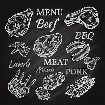 Retro meat menu drawings on chalkboard with lamb chops sausage wieners pork ham skewers gastronomic products isolated vector illustration