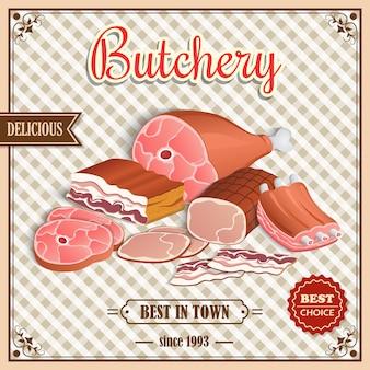 레트로 고기 포스터